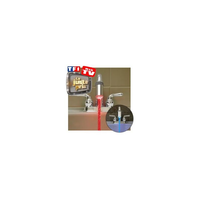 Robinet lumineux led bleu rouge gadget utile et original pour la salle de bain - Robinet led salle de bain ...
