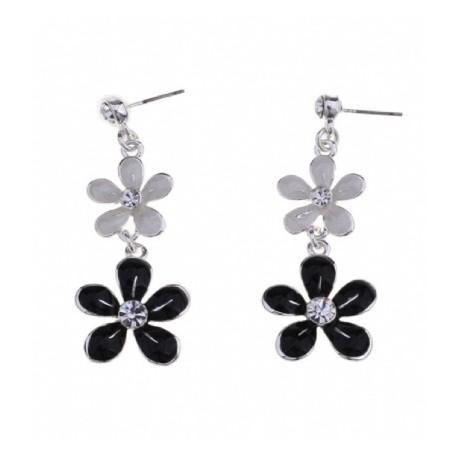 Boucles d'oreilles fleurs grises et noires