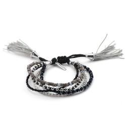 Bracelet fantaisie perles noires, blanches et argentées
