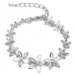 Bracelet fantaisie argenté à fleurs
