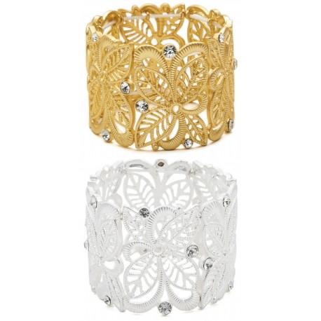 Bracelet doré ou argenté à strass